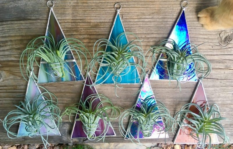 stained glass triangle air plant holder
