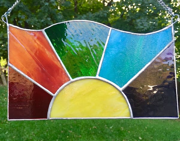 stained glass rainbow suncatcher mountain woman products