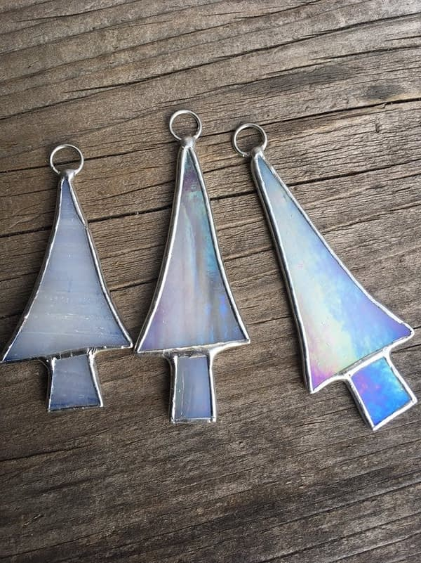 christmas tree stained glass ornaments on wood mountain woman products