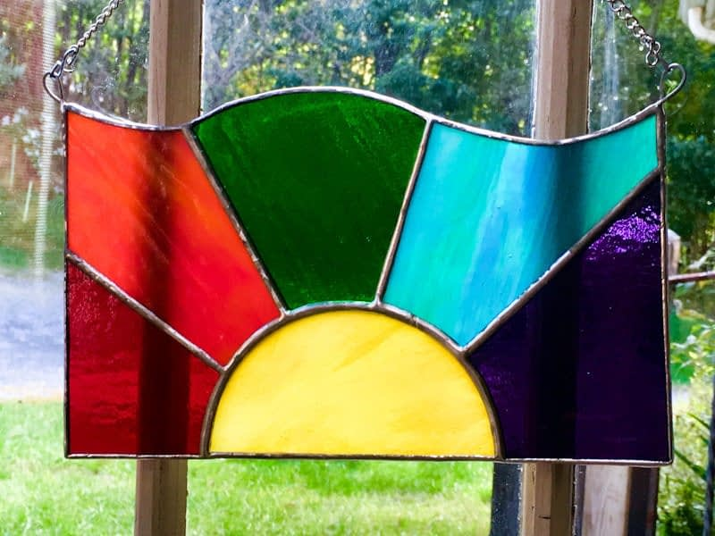 Rainbow Sun Stained Glass Window or Wall Hanging Panel