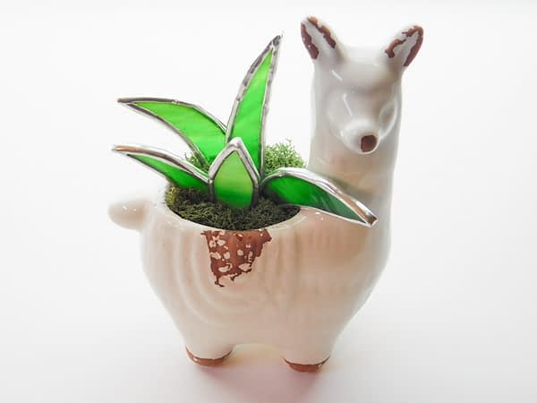 Stained Glass Aloe Plant in Alpaca Llama Planter Mountain Woman Products