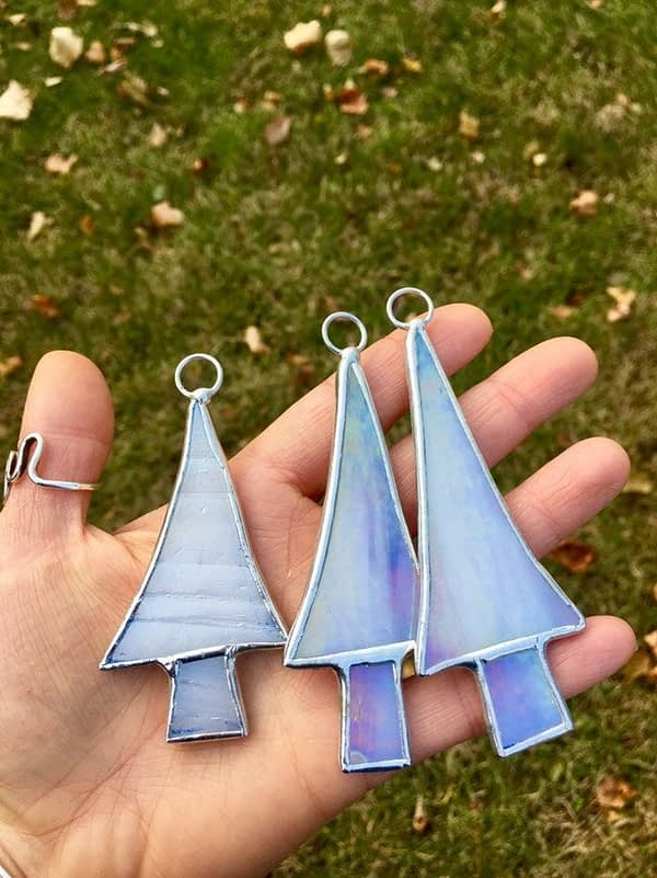 mountain woman products stained glass tree ornaments