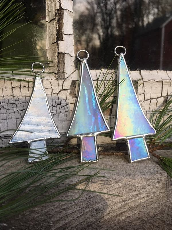 stained glass christmas tree ornaments mountain woman products