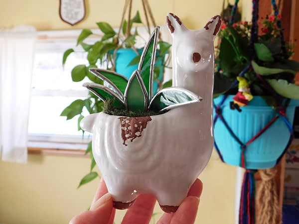 Llama Alpaca Planter with Stained Glass Succulent Mountain Woman Products