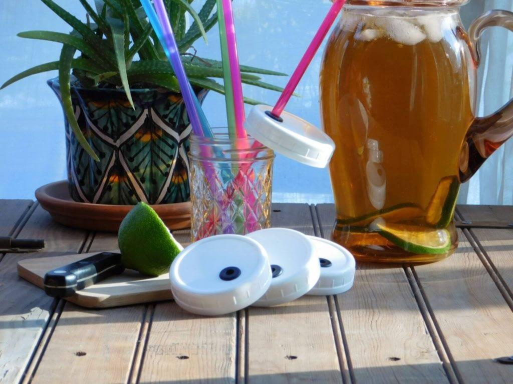 reusable mason jar lids and straws