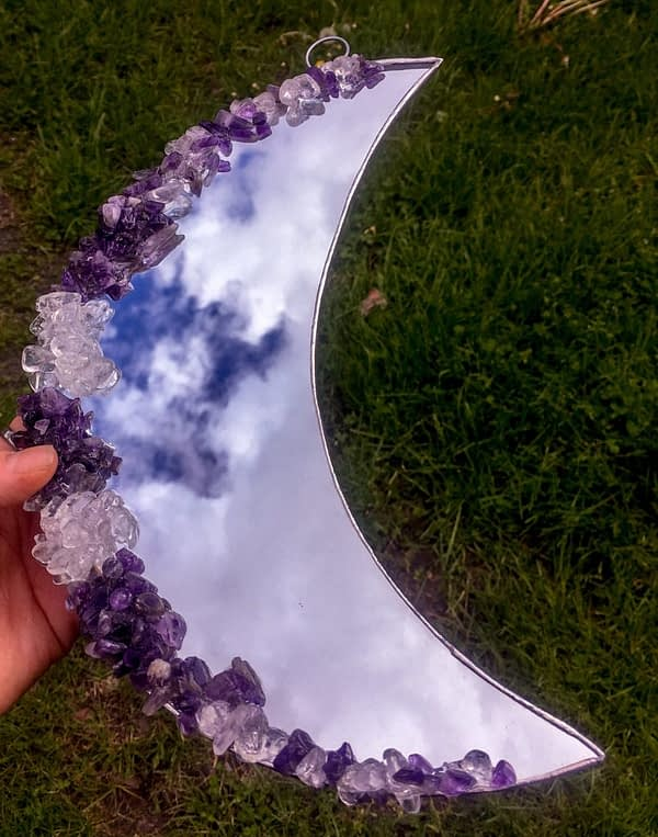 Amethyst Quartz Crystal Stained Glass Moon Mirror
