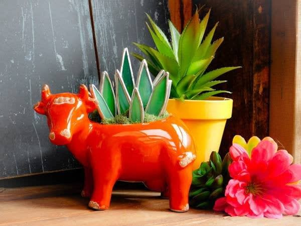 Stained Glass Aloe Succulent in an Orange Cow Pot