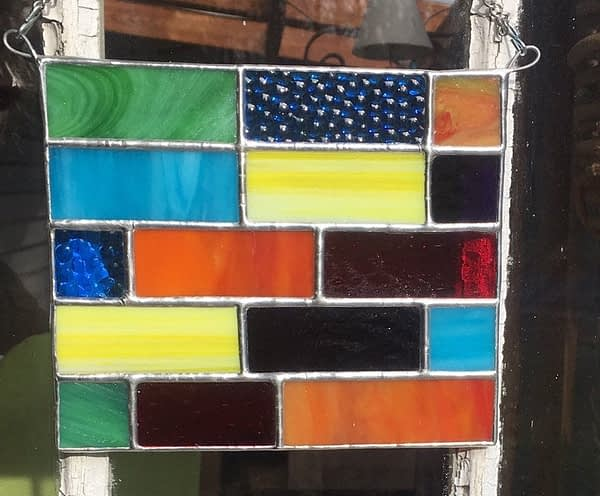 mountain woman products stained glass multi colored panel