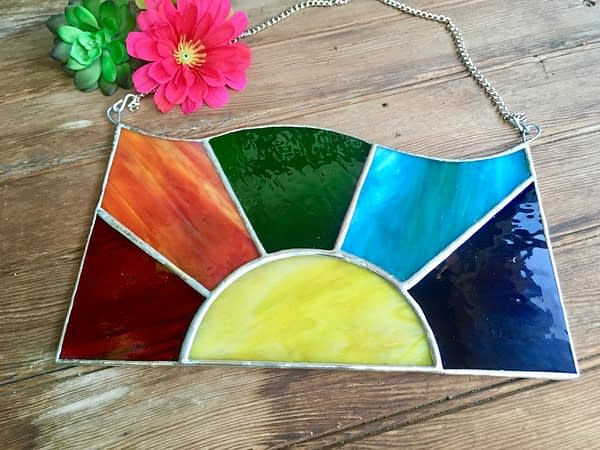 stained glass rainbow sun by mountain woman products