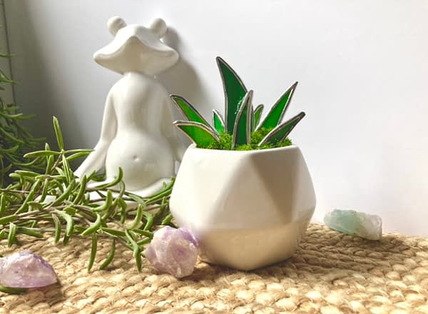 White hexagon pot with stained glass aloe plant Mountain Woman Products