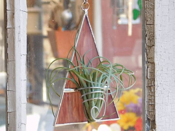 Orange stained glass triangle shape air plant holder