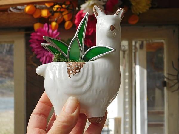 Stained Glass Succulent in Llama Alpaca Pot