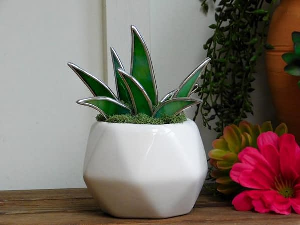 Stained Glass Succulent in White Faceted Pot Mountain Woman Products