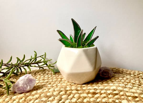 Stained Glass Aloe Plant in White Hexagon Planter Mountain Woman Products