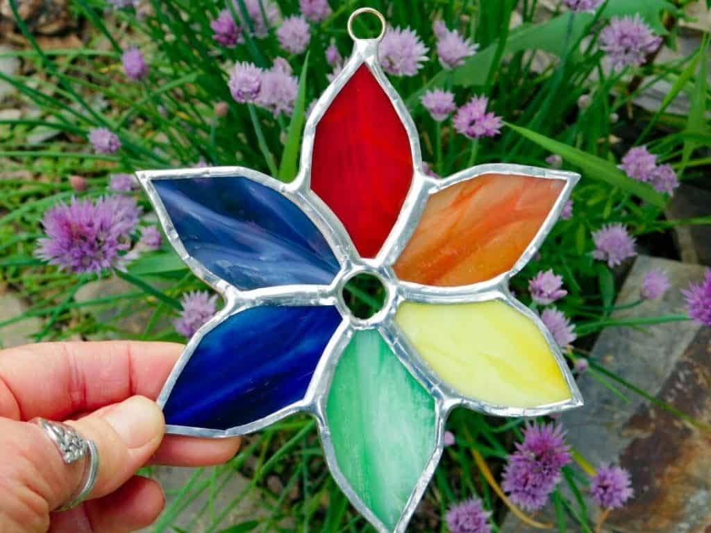 Rainbow Pinwheel Flower Stained Glass Suncatcher