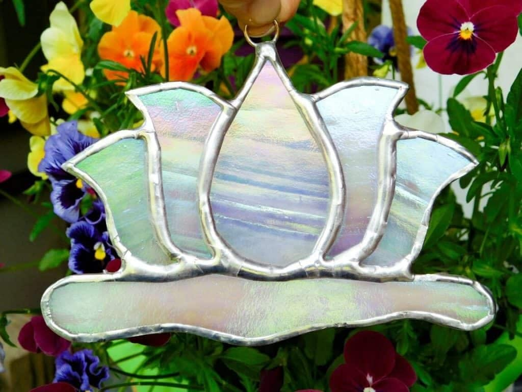Stained Glass Lotus Flower Suncatcher on Lilypad Lead-free