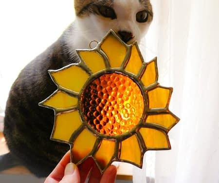 cat admiring stained glass sunflower by Mountain Woman Products