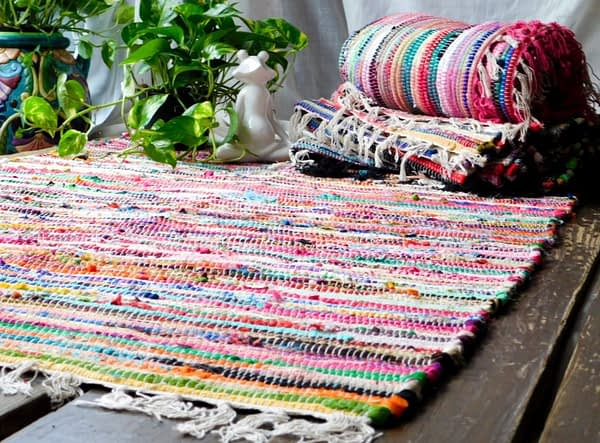 Muliticolored Chindi rag rugs