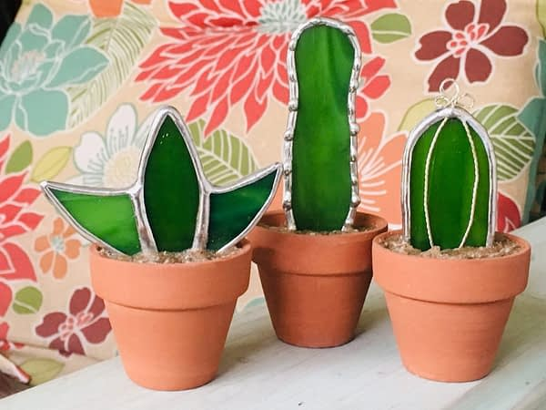three succulent cactus stained glass in clay pots mountain woman products