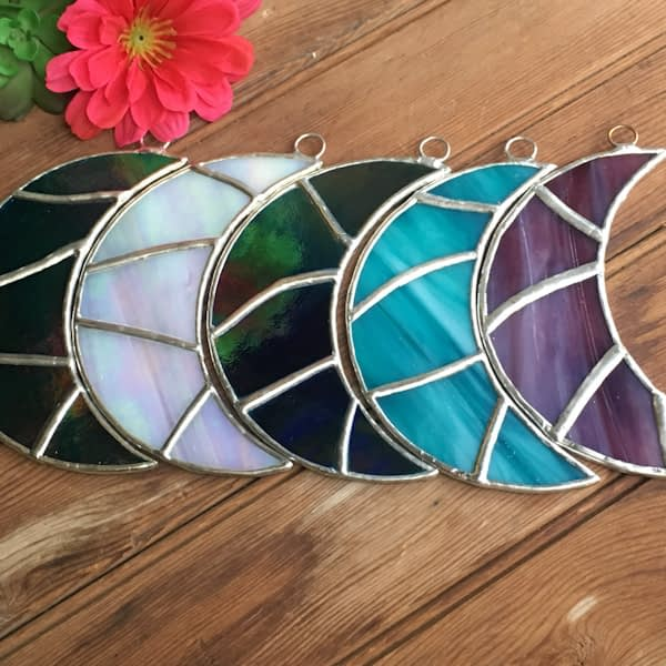 Stained Glass Crescent Moon Suncatchers by Mountain Woman Products