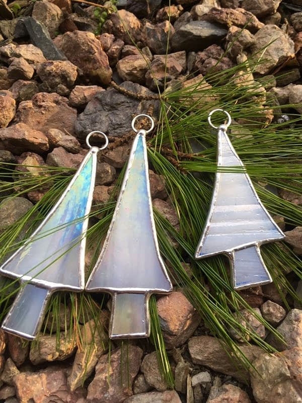 iridescent white stained glass christmas tree ornaments mountain woman products