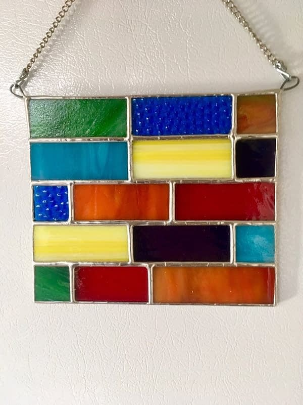 stained glass rainbow colored suncatcher mountain woman products