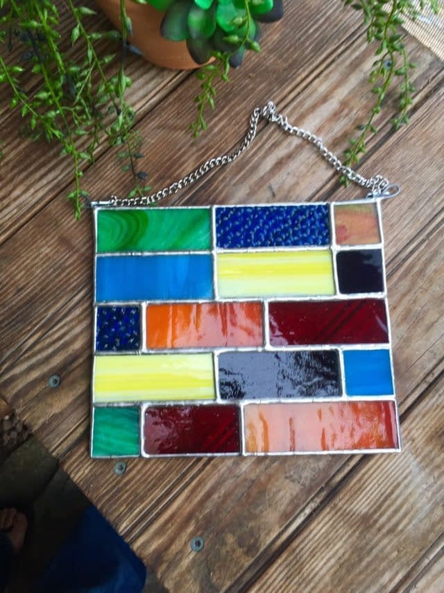 Rainbow Squares Stained Glass Panel